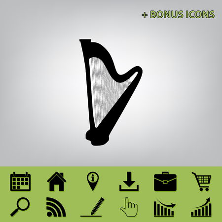 Musical instrument harp sign. Vector. Black icon at gray background with bonus icons at celery ones