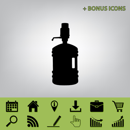 siphon: Plastic bottle silhouette with water and siphon. Vector. Black icon at gray background with bonus icons at celery ones Illustration