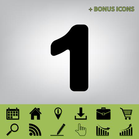 Number 1 sign design template element. Vector. Black icon at gray background with bonus icons at celery ones Ilustração