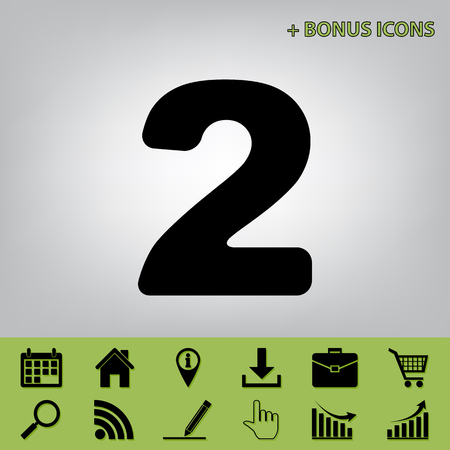 Number 2 sign design template elements. Vector. Black icon at gray background with bonus icons at celery ones Illustration