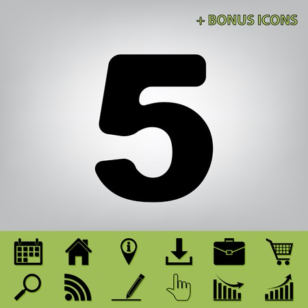 Number 5 sign design template element. Vector. Black icon at gray background with bonus icons at celery ones