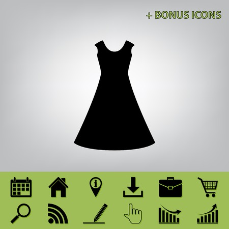 cor: beautiful long dress sign. Vector. Black icon at gray background with bonus icons at celery ones