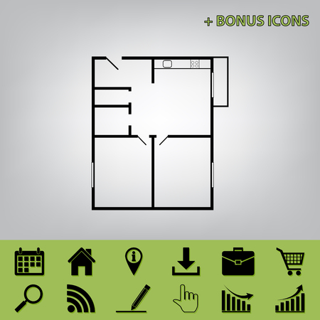 condo: Apartment house floor plans. Vector. Black icon at gray background with bonus icons at celery ones Illustration