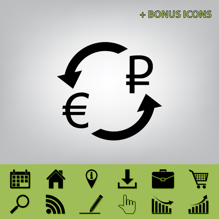 Currency exchange sign. Euro and Russia Ruble. Vector. Black icon at gray background with bonus icons at celery ones