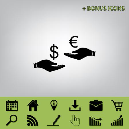 Valutawissel van hand tot hand. Dollar en Euro. Vector. Zwart pictogram op grijze achtergrond met bonuspictogrammen bij selderie degenen