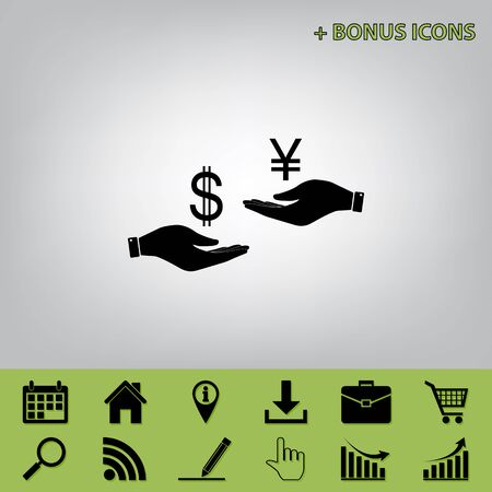 Currency exchange from hand to hand. Dollar and Yen. Vector. Black icon at gray background with bonus icons at celery ones