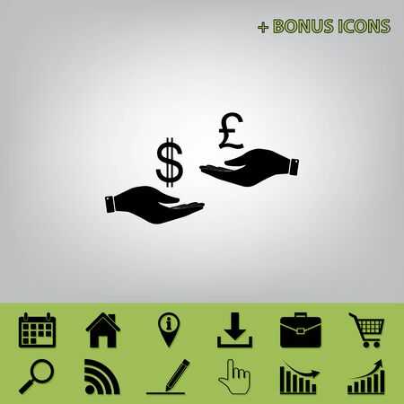 Currency exchange from hand to hand. Dollar and Pound. Vector. Black icon at gray background with bonus icons at celery ones