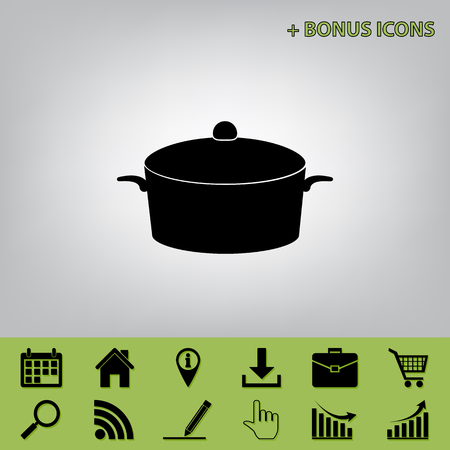 Pan sign. Vector. Black icon at gray background with bonus icons at celery ones
