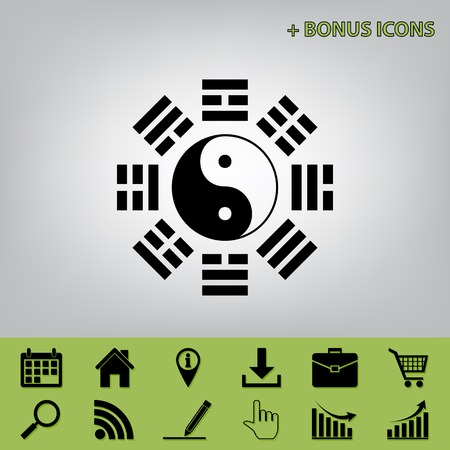 Yin and yang sign with bagua arrangement. Vector. Black icon at gray background with bonus icons at celery ones