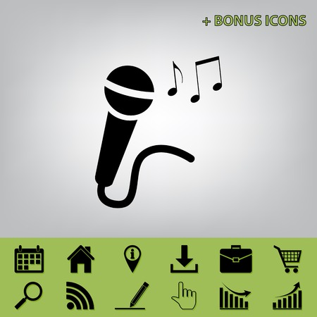 Microphone sign with music notes. Vector. Black icon at gray background with bonus icons at celery ones Illustration