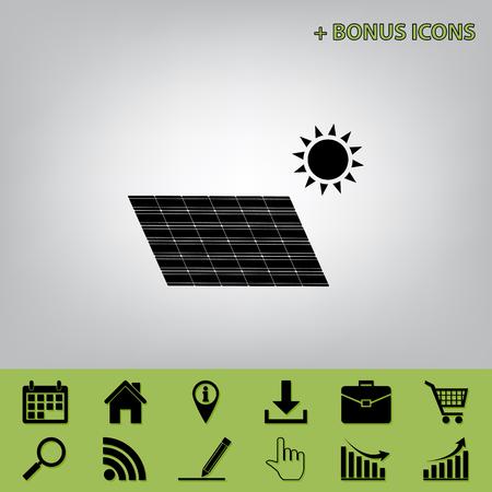 Panel de energía solar. Signo de concepto de tendencia ecológica. Vector. Icono negro en fondo gris con iconos de bonificación en apio