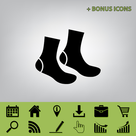 hosiery: Socks sign. Vector. Black icon at gray background with bonus icons at celery ones