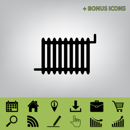gas radiator: Radiator sign. Vector. Black icon at gray background with bonus icons at celery ones Illustration