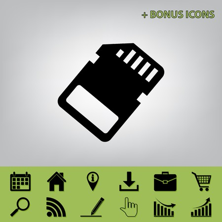 gigabyte: Memory card sign. Vector. Black icon at gray background with bonus icons at celery ones Illustration
