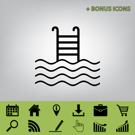 condo: Swimming Pool sign. Vector. Black icon at gray background with bonus icons at celery ones