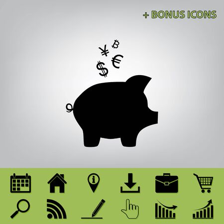 Piggy bank sign with the currencies. Vector. Black icon at gray background with bonus icons at celery ones Illustration