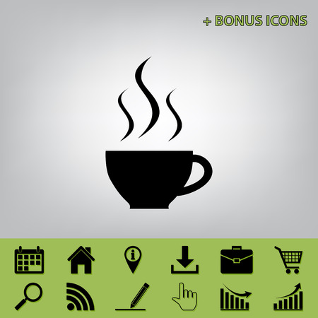 Cup sign with three small streams of smoke. Vector. Black icon at gray background with bonus icons at celery ones Illustration