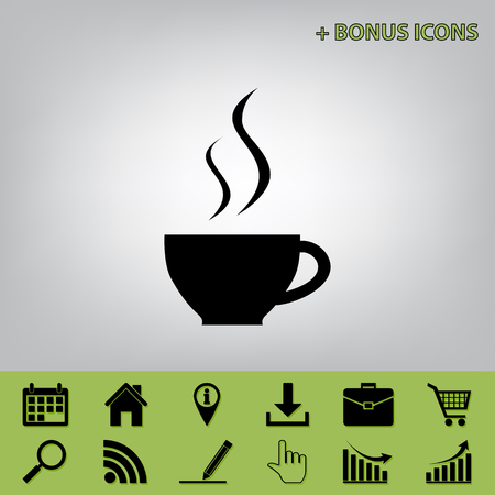 Cup sign with two small streams of smoke. Vector. Black icon at gray background with bonus icons at celery ones