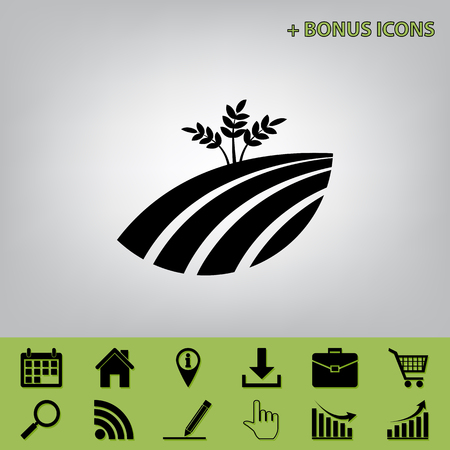 Wheat field sign. Vector. Black icon at gray background with bonus icons at celery ones