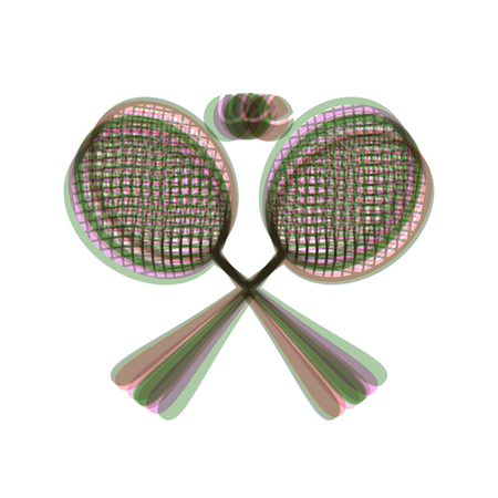 Two tennis racket with ball sign. Vector. Colorful icon shaked with vertical axis at white background. Isolated. Ilustração