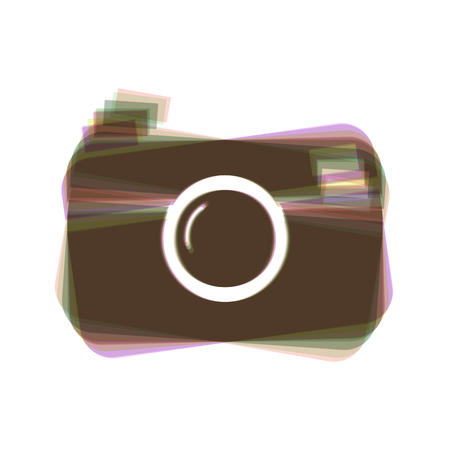 Digital photo camera sign. Vector. Colorful icon shaked with vertical axis at white background. Isolated. Illustration