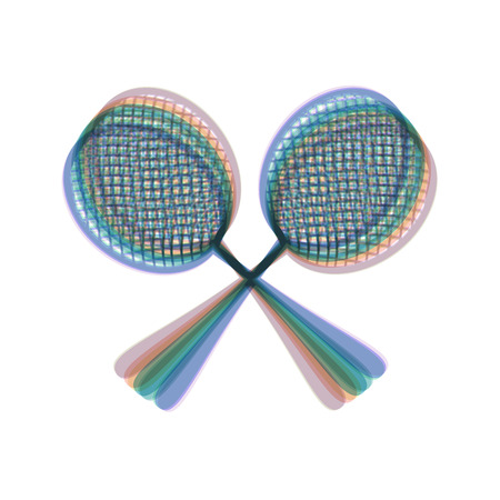 Two tennis racket sign. Vector. Colorful icon shaked with vertical axis at white background. Isolated.