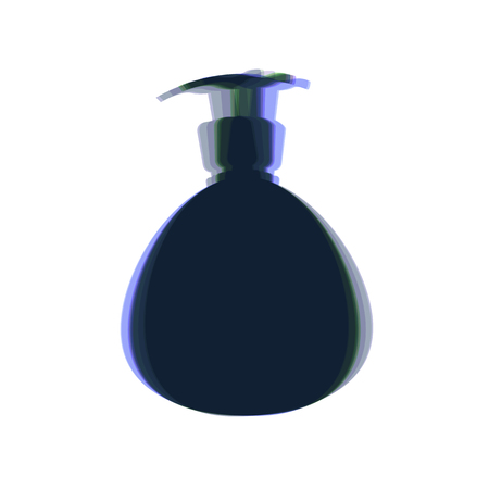 plastico pet: Gel, Foam Or Liquid Soap. Dispenser Pump Plastic Bottle silhouette. Vector. Colorful icon shaked with vertical axis at white background. Isolated.