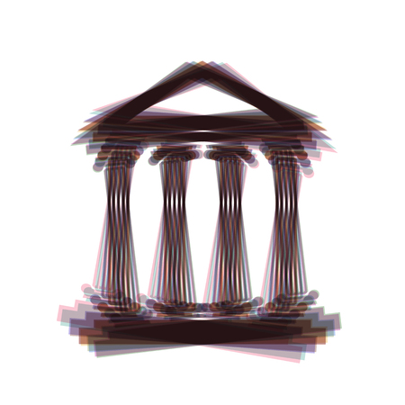roman pillar: Historical building illustration. Vector. Colorful icon shaked with vertical axis at white background. Isolated.