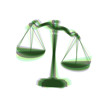 Scales of Justice sign. Vector. Colorful icon shaked with vertical axis at white background. Isolated. Illustration