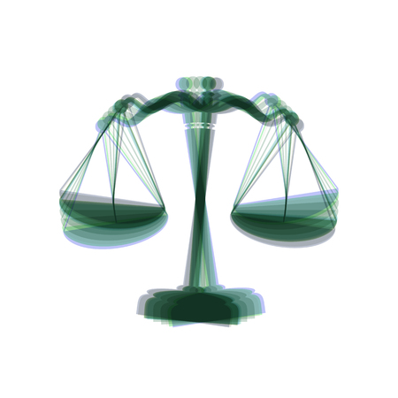justice scale: Scales balance sign. Vector. Colorful icon shaked with vertical axis at white background. Isolated.