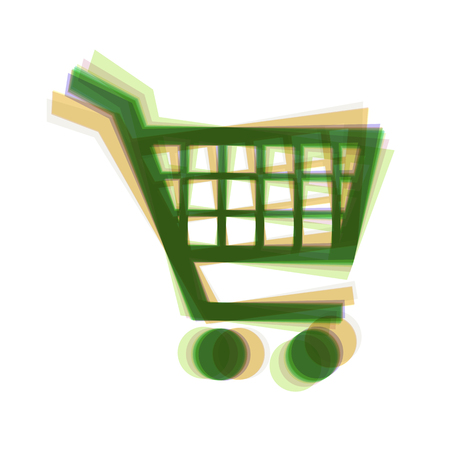 Shopping cart sign. Vector. Colorful icon shaked with vertical axis at white background. Isolated. Illustration