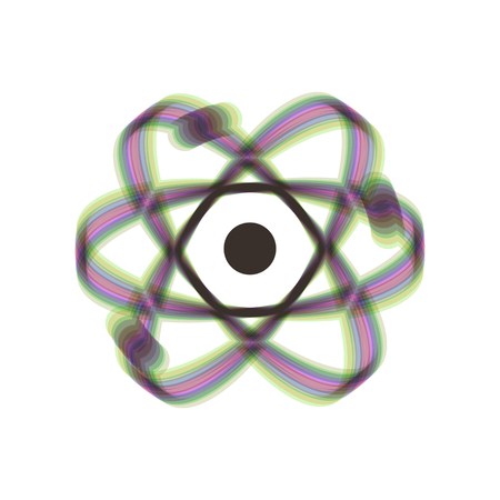 Atom sign illustration. Vector. Colorful icon shaked with vertical axis at white background. Isolated.