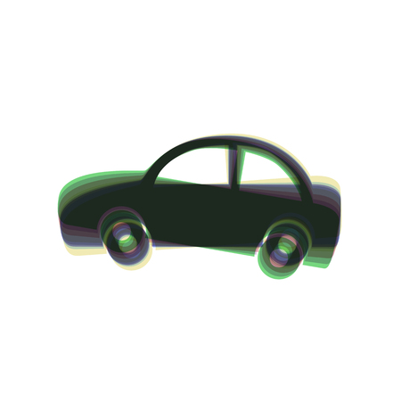 racing sign: Car sign illustration. Vector. Colorful icon shaked with vertical axis at white background. Isolated.