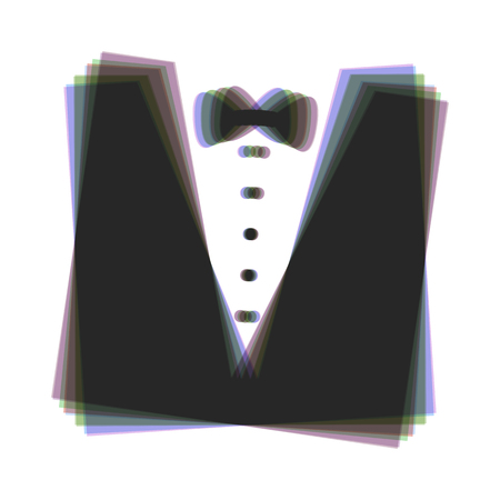 Tuxedo with bow silhouette. Vector. Colorful icon shaked with vertical axis at white background. Isolated.