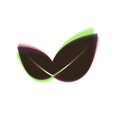 Leaf sign illustration. Vector. Colorful icon shaked with vertical axis at white background. Isolated.
