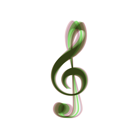 Music violin clef sign. G-clef. Treble clef. Vector. Colorful icon shaked with vertical axis at white background. Isolated.