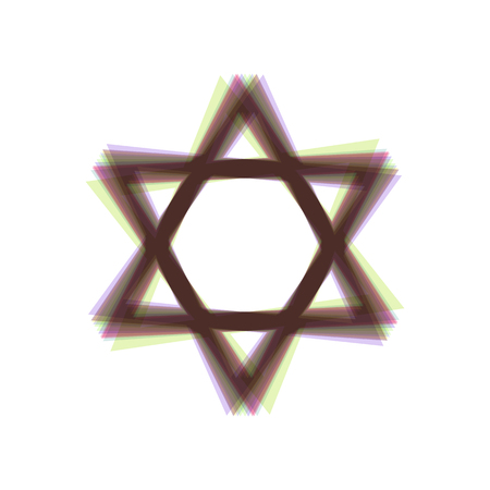 Shield Magen David Star. Symbol of Israel. Vector. Colorful icon shaked with vertical axis at white background. Isolated. Illustration