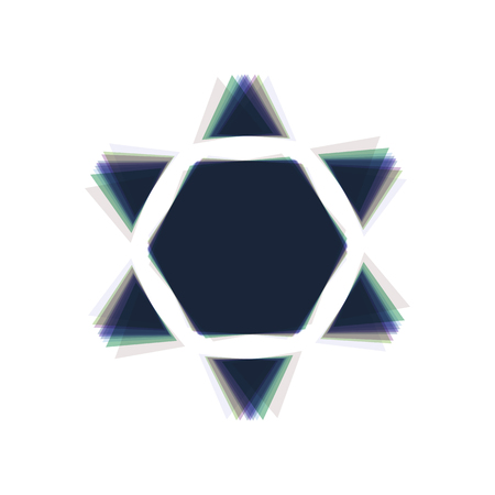 Shield Magen David Star Inverse. Symbol of Israel inverted. Vector. Colorful icon shaked with vertical axis at white background. Isolated.