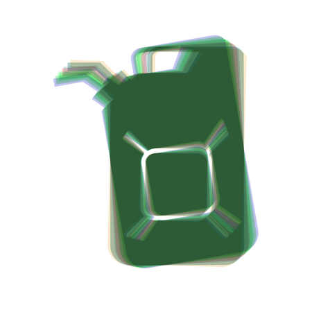 refueling: Jerrycan oil sign. Jerry can oil sign. Vector. Colorful icon shaked with vertical axis at white background. Isolated.