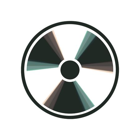 perilous: Radiation Round sign. Vector. Colorful icon shaked with vertical axis at white background. Isolated.