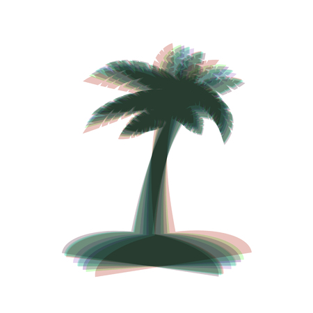 Coconut palm tree sign. Vector. Colorful icon shaked with vertical axis at white background. Isolated. Illustration