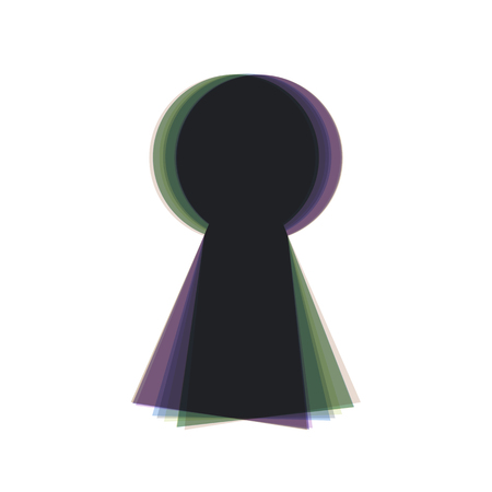 key hole: Keyhole sign illustration. Vector. Colorful icon shaked with vertical axis at white background. Isolated.