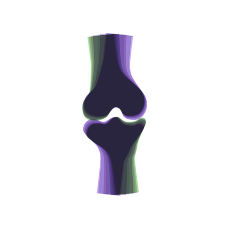 Knee joint sign. Vector. Colorful icon shaked with vertical axis at white background. Isolated.