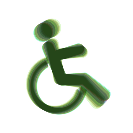 Disabled sign illustration. Vector. Colorful icon shaked with vertical axis at white background. Isolated.