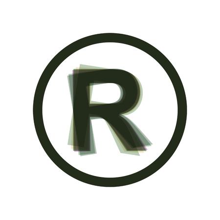 商標記号を登録しました。ベクトル。カラフルなアイコンが白い背景で縦軸に揺れ。分離されました。  イラスト・ベクター素材