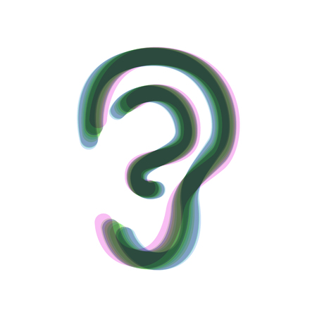 Human anatomy. Ear sign. Vector. Colorful icon shaked with vertical axis at white background. Isolated.