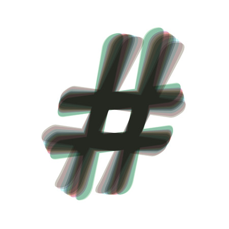 Hashtag sign illustration. Vector. Colorful icon shaked with vertical axis at white background. Isolated.