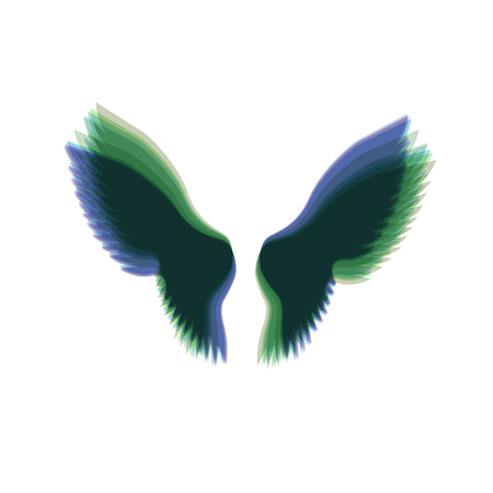 Wings sign illustration. Vector. Colorful icon shaked with vertical axis at white background. Isolated.