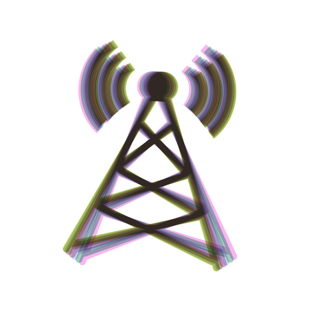 Antenna sign illustration. Vector. Colorful icon shaked with vertical axis at white background. Isolated.