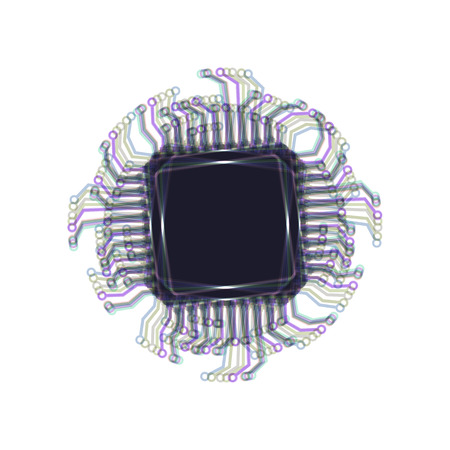 gpu: CPU Microprocessor illustration. Vector. Colorful icon shaked with vertical axis at white background. Isolated. Illustration